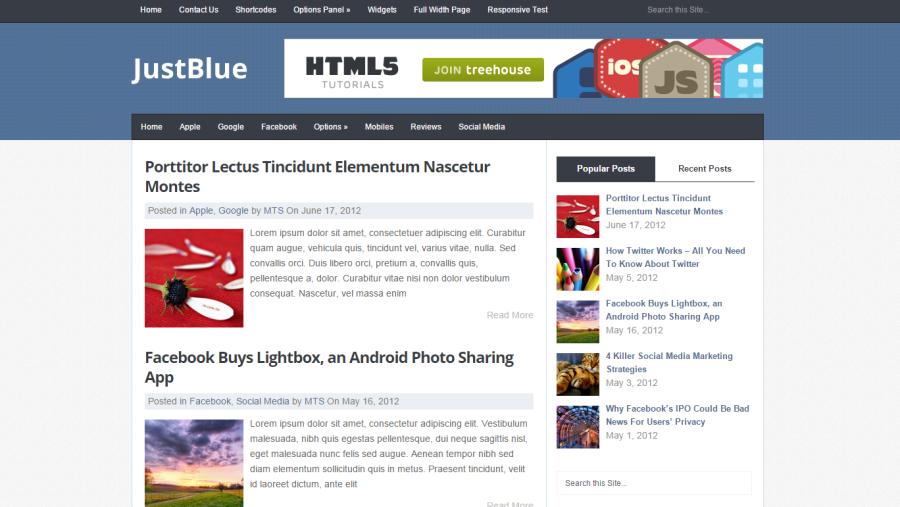 Photo of JustBlue WordPress Theme Free Download